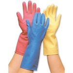 Kitchen Flocklined Rubber Gloves Small - One Dozen