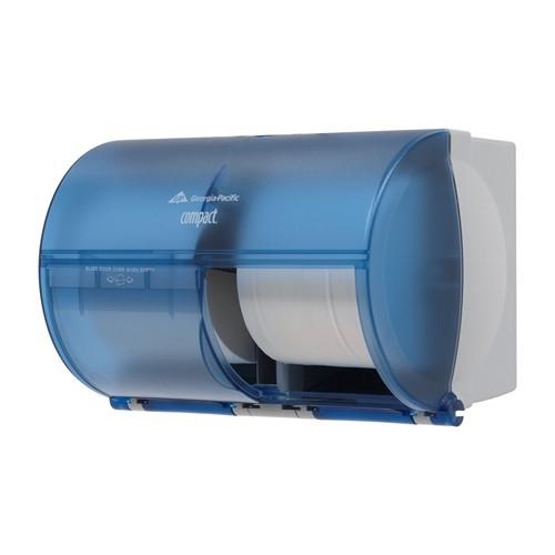 bathroom tissue. GP Compact® Splash Blue Side-By-Side Double Roll Bathroom Tissue Dispenser